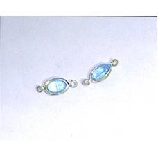 Navette 6x4mm 2 ring Aqua S/P