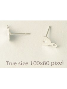 Ear Post Drop 6mm disc Silver pl. - PAIR