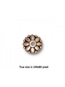 Bead Cap  10mm Dharma  Antique Silver