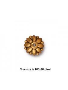 Bead Cap  10mm Dharma  Antique Gold