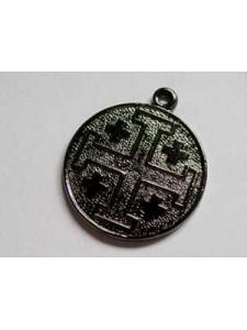 Jerusalem Cross Coin 20mm Black N Plated