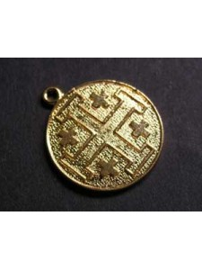 Jerusalem Cross Coin 20mm Gold Plated