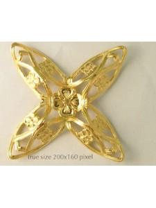 Large Floral 4 prong Star 67mm Gold pl
