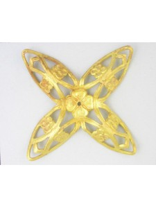 Large Floral 4 prong Star 67mm Raw Brass