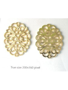 Filigree Oval Plate 35x27mm Gold plate