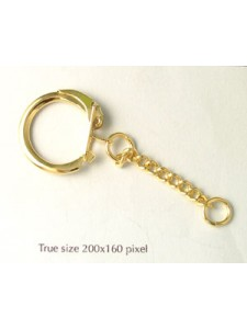 Keyring Chain Bright Gold Plated