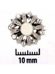 St.Silver Clasp Floral w/Pearl & 8stones