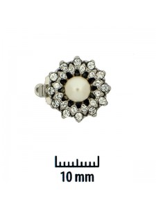 Clasp 1-sided 15mm Pearl w/stones 1-str