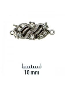 St.Silver Clasp 9x18mm w/stones 1-strand
