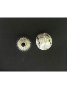 Corrugated Bead 16mm (3.8mm H) Silver Pl