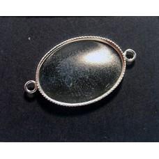 925 Oval Milled Bezel 13x18mm w/2-rings
