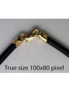 Black Rubber 3mm Necklace 18in 14K GF