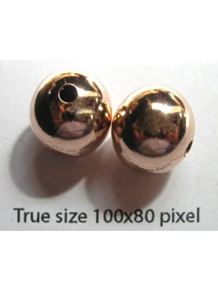 12mm Bead H:2.4mm 14KGF Rose Gold