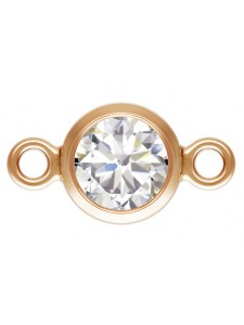 Bezel Connector 4mm CZ 14K Rose Gold  GF