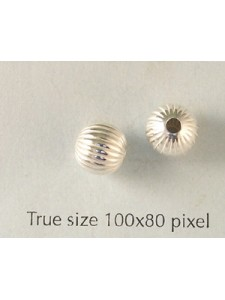 St. Silver Corrugated Bead 8mm Light