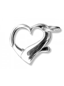 St.Silver Floating Heart Clasp 21x20mm