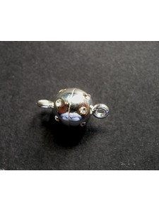 St.Silver Magnetic Clasp 8mm w/crystal