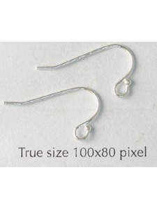 St.Silver Ball End Earwire (0.96mm) PAIR