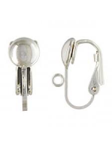 St.Silver Earclip w/6.5mm half bead -PRS