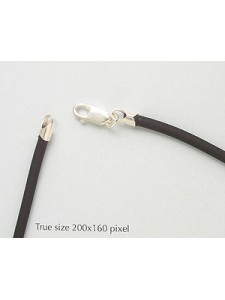 St.Silver Black Rubber 3mm Necklace 16in
