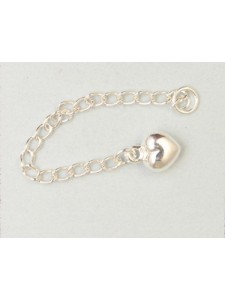 St.Silver Extension Chain w/Puffed Heart