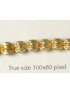 Corrugated Bead 6mm Gold Plated