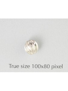 Corrugated Bead 8mm Silver Plated