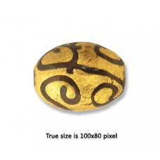 Hand made Bead Oval gold foil 20x10mm H2