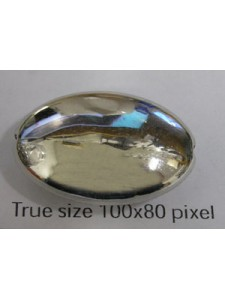 Flat Oval Bead 25x18x8mm Nickel colour