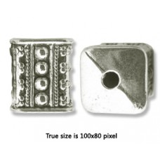 CCB Bead  Cube 16x13mm Antique Silver