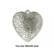 CCB Bead Heart 40mm Antique Silver