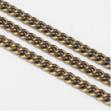 Bevel Curb Chain 4.5x3mm Antique Brass