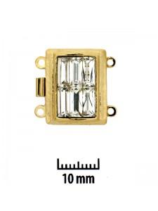 Clasp 18x14mm 2-str Clear stones Gold Pl