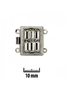 Clasp 18x14mm 2-str Clear stones Rho Pl