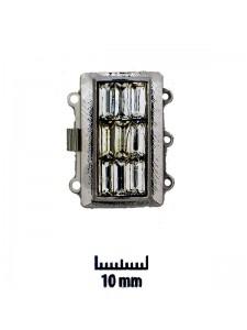 Clasp 26x16mm 3-str Clear stones Rhod Pl