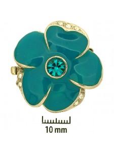 Clasp 22mm Flower enamel Blue Zi Rhod Pl