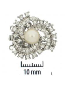 Clasp 2-strand 22mm Pearl&Stones Rhod Pl