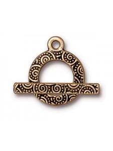 CLASP SET  5/8  SPIRAL BAR & RING   Gold