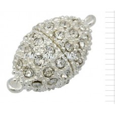 Magnetic Clasp w/Stones 13x25mm Silver P