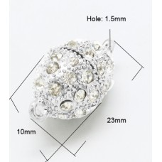 Magnetic Clasp 23x10mm Stones SIlver Pl