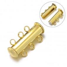 Magnetic Slide Clasp 3-str 21mm Golden