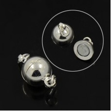 Magnetic Clasp 8mm Round Silver plated