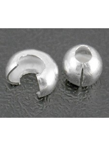 Crimp Cover 3.2mm 1mm hole Silver plated
