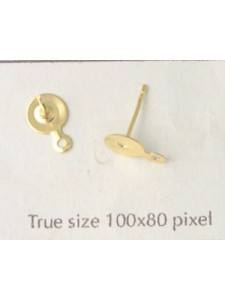 Ear Post Drop 6mm disc Gold pl - PAIRS