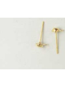 Ear Post Drop 4mm Gold Plated - pairs