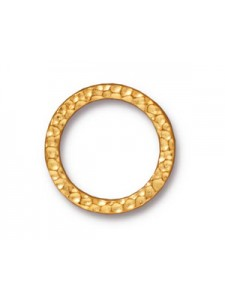 Hammered Ring OD 19mm Bright Gold