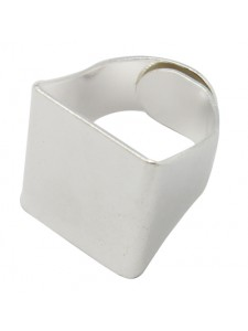 Finger Ring (asia) 19mm Sq Silver Plate