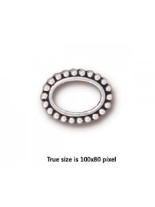 BEAD FRAME  6X9 OVAL  Antique Silver