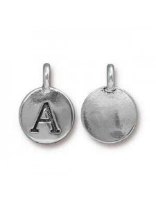 Charm Letter  A 16.6x11.6mm Anti Silver