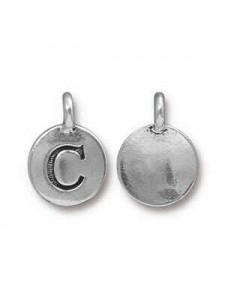 Charm Letter  C 16.6x11.6mm Anti Silver